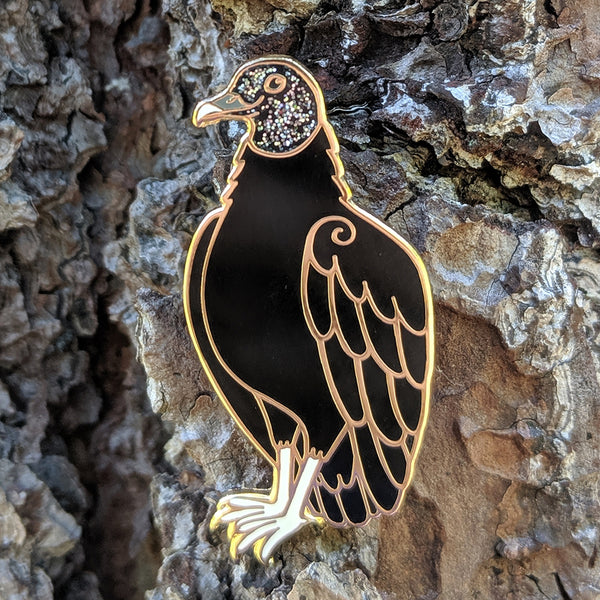 Black Vulture Enamel Pin