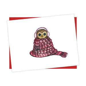 Owl Bundled Up Holiday Card