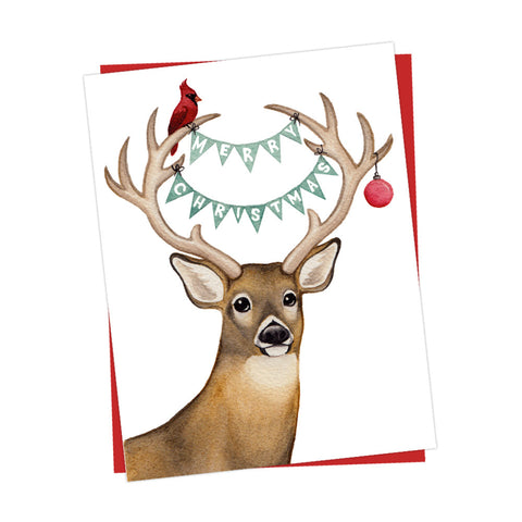 Woodland Deer Merry Christmas Card