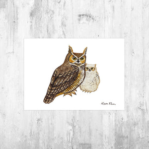Great Horned Owl with Owlet Art Print