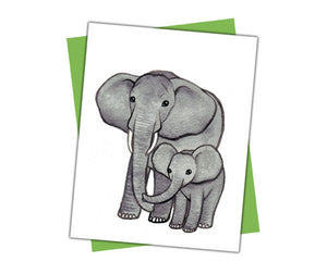 Elephant with Baby Card
