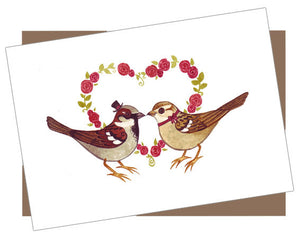 Romantic House Sparrows Card
