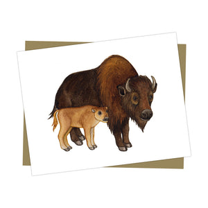 Buffalo with Baby Card
