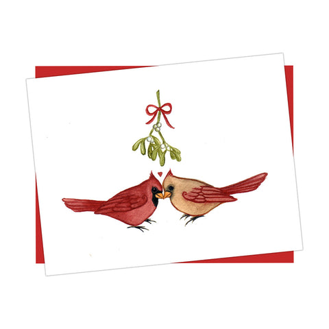 Cardinals Under Mistletoe Holiday Card