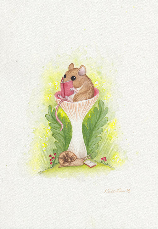 Mouse Reading in Mushroom Painting