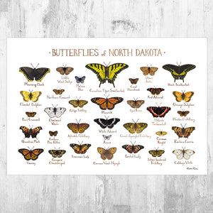 North Dakota Butterflies Field Guide Art Print