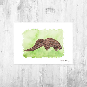 Pangolin with Baby Art Print