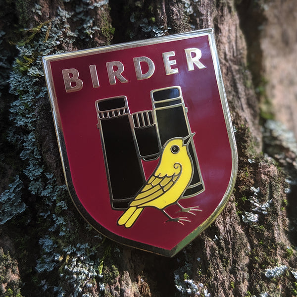 Birder Badge Enamel Pin - Burgundy