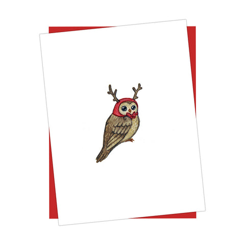 Reindeer Owl Holiday Card