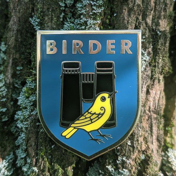 Birder Badge Enamel Pin - Dark Teal