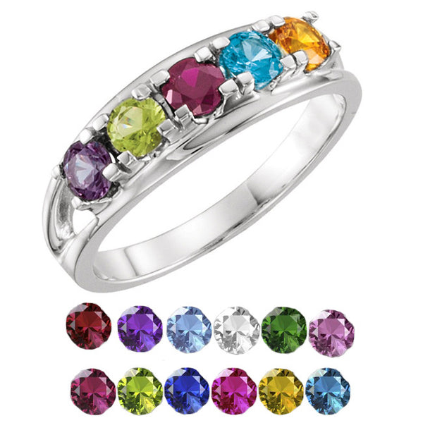 10341-Mother's Ring-1-7-stones-3.5 mm Round Shape