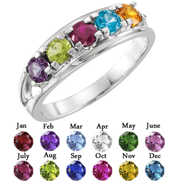 10341-Sterling-Silver-Mother's Ring-1-7-stones-3.5 mm Round Shape