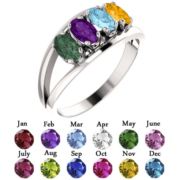 10350-Sterling-Silver-Mother's Ring-1-6-stones-5X3 mm Marquise Shape