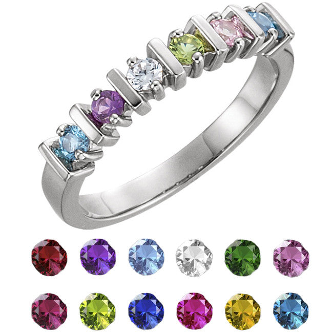 10910-Sterling-Silver-Mother's Ring-2-6-stones-2.5 mm Round Shape