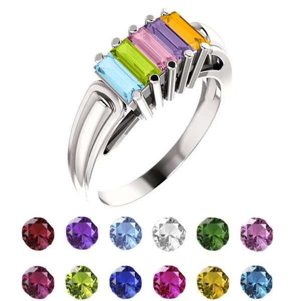 10914-Sterling-Silver-Mother's Ring-2-6-stones-5X2 mm Baguette Shape