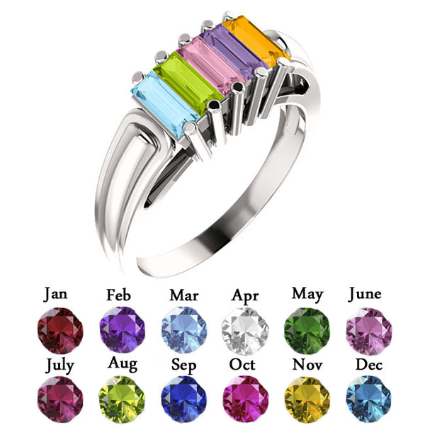 10914-Mother's Ring-2-6-stones-5X2 mm Baguette Shape