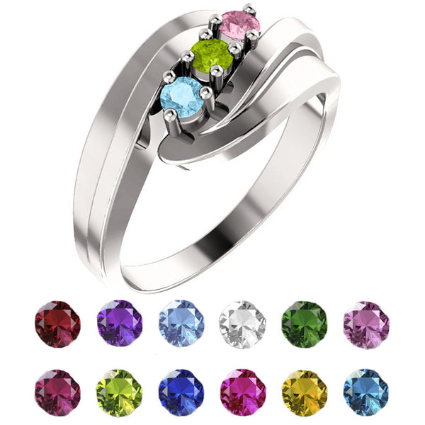12470-Mother's Ring-1-6-stones-3.00 mm Round Shape