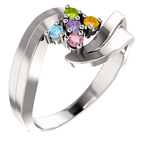 12470-Sterling-Silver-Mother's Ring-1-6-stones-3.00 mm Round Shape