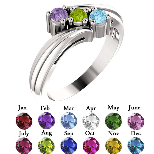 12506-Sterling-Silver-Mother's Ring-1-4-stones-2.7 mm Round Shape