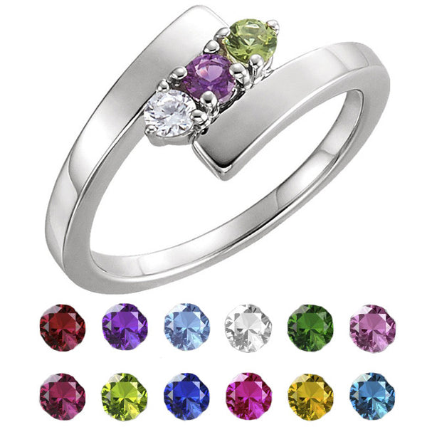 12509-Sterling-Silver-Mother's Ring-1-5-stones-2.7 mm Round Shape