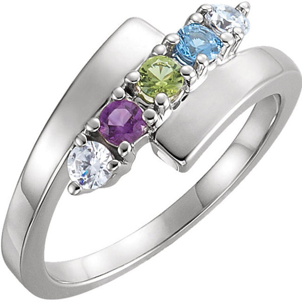 12509-Mother's Ring-1-5-stones-2.7 mm Round Shape