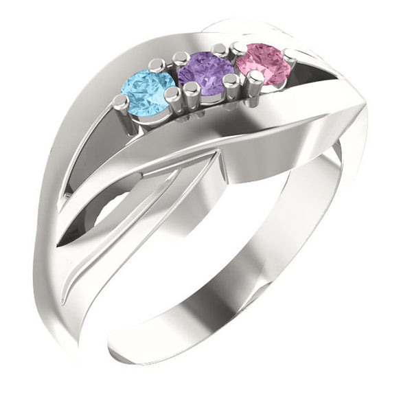 12515-Sterling-Silver-Mother's Ring-1-5-stones-2.7 mm Round Shape