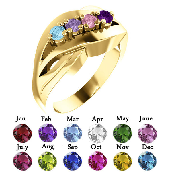 12515-Mother's Ring-1-5-stones-2.7 mm Round Shape