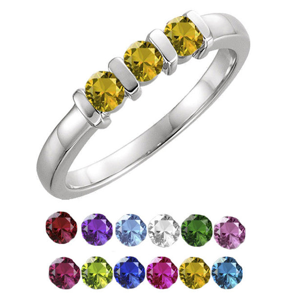 12608-Mother's Ring-1-4-stones-3.00mm Round Shape