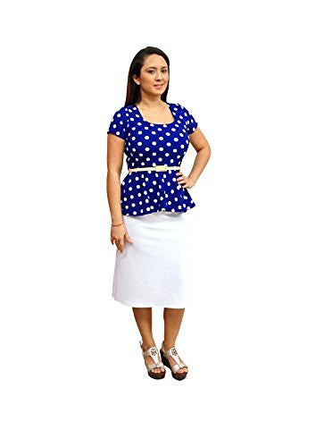 DBG Women's Coral White Polka Dots Short Sleeves Blouse