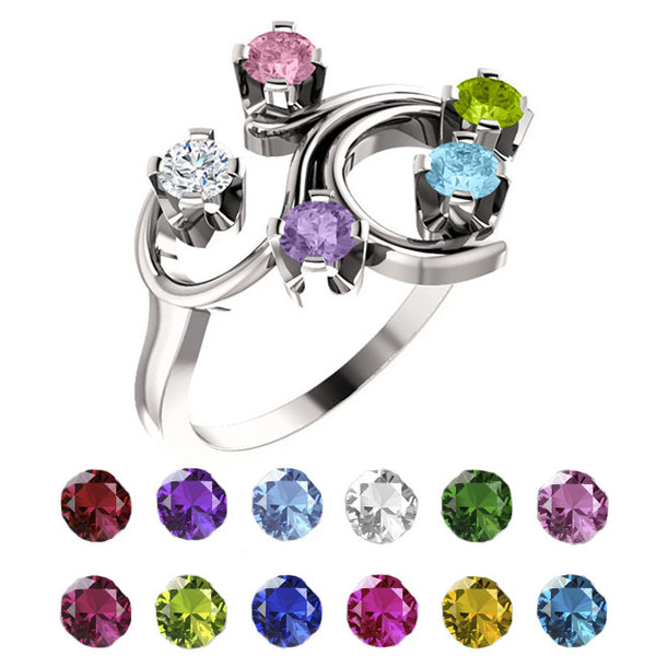 4756-Sterling-Silver-Mother's Ring-1-5-stones-3.00 mm Round Shape