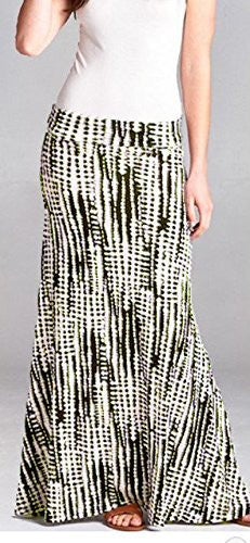 DBG Women's Maxi Tie Dye Green White Skirts
