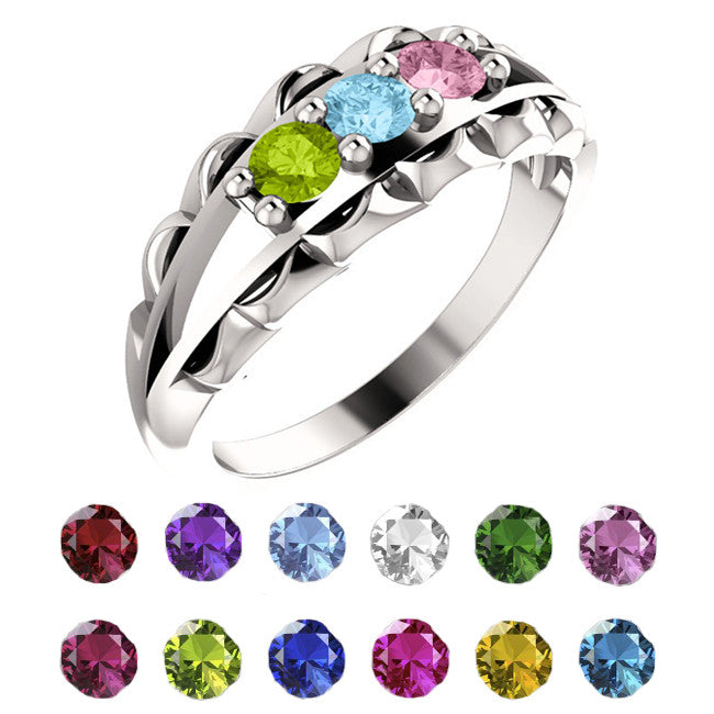 71086-Sterling-Silver-Mother's Ring-1-5-stones-3.00 mm Round Shape