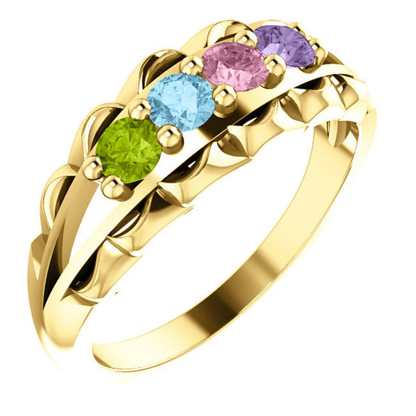 71086-Mother's Ring-1-5-stones-3.00 mm Round Shape