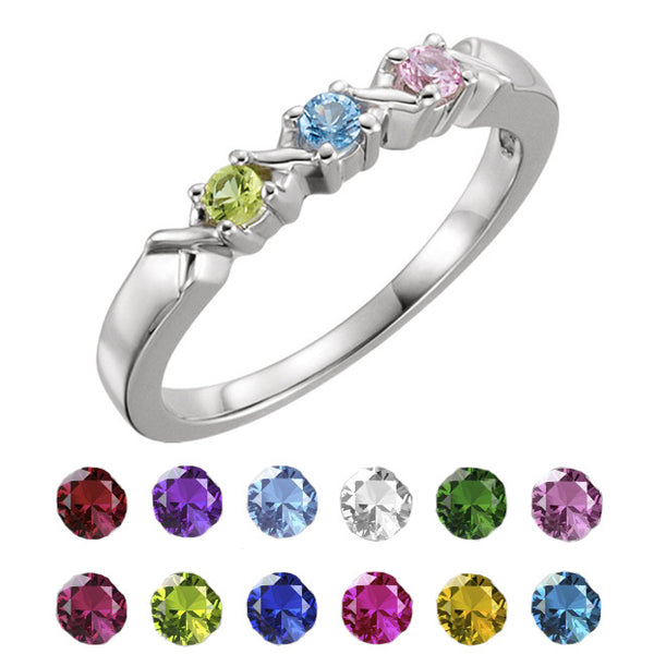 71087-Mother's Ring-1-5-stones-2.5mm Round Shape