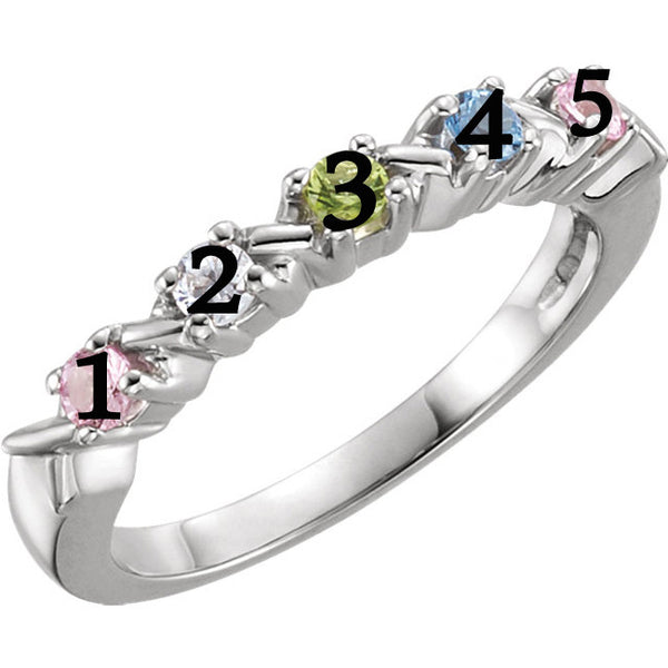 71087-Sterling-Silver-Mother's Ring-1-5-stones-2.5mm Round Shape