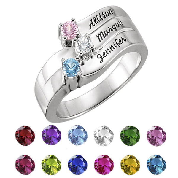 71093-Mother's Ring-1-4-stones-3.00 mm Round Shape Engravable