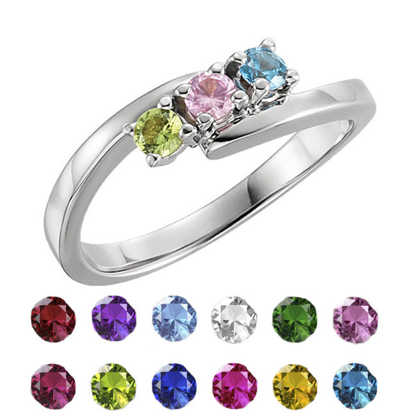 71177-Sterling-Silver-Mother's Ring-1-5-stones-3.00 mm Round Shape