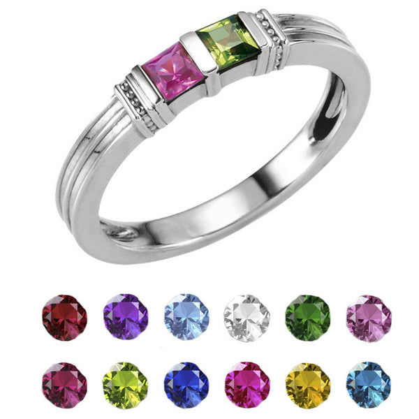 71302-Sterling-Silver-Mother's Ring-1-3-stones-3X3 mm Square Shape
