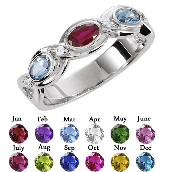 71507-Sterling-Silver-Mother's Ring-1-5-stones-5 X 3 mm Oval Shape