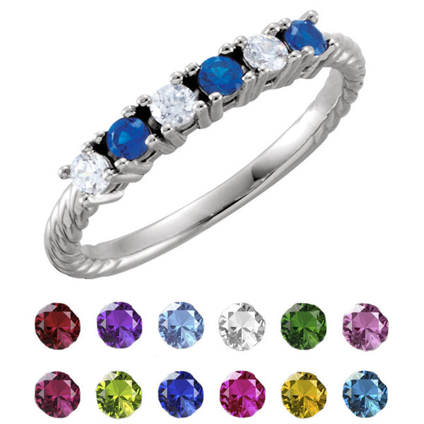 71675-Sterling-Silver-Mother's Ring-1-6-stones-2.5 mm Round Shape