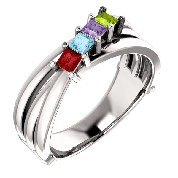 71706-Sterling-Silver-Mother's Ring-1-6-stones-2.5 X 2.5 mm Square Shape