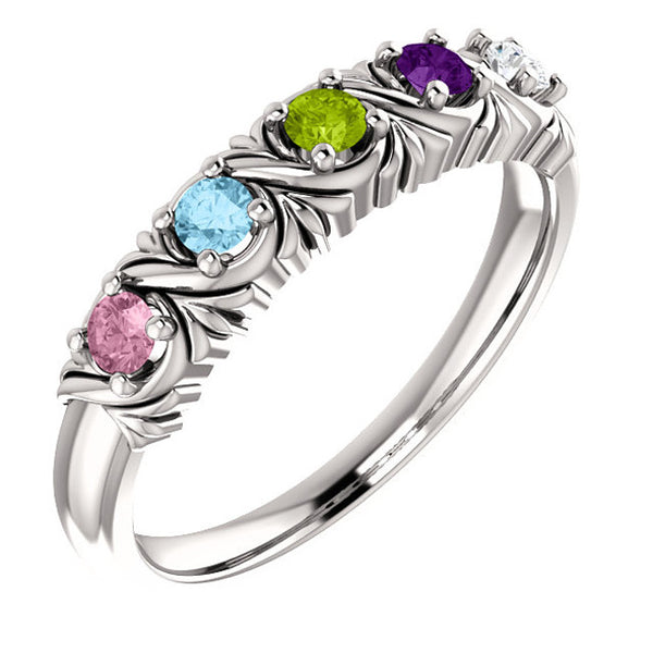 71708-Sterling-Silver-Mother's Ring-1-6-stones-3.00mm Round Shape