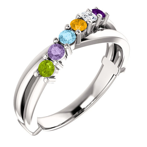 71709-Sterling-Silver-Mother's Ring-1-6-stones-2.5mm Round Shape