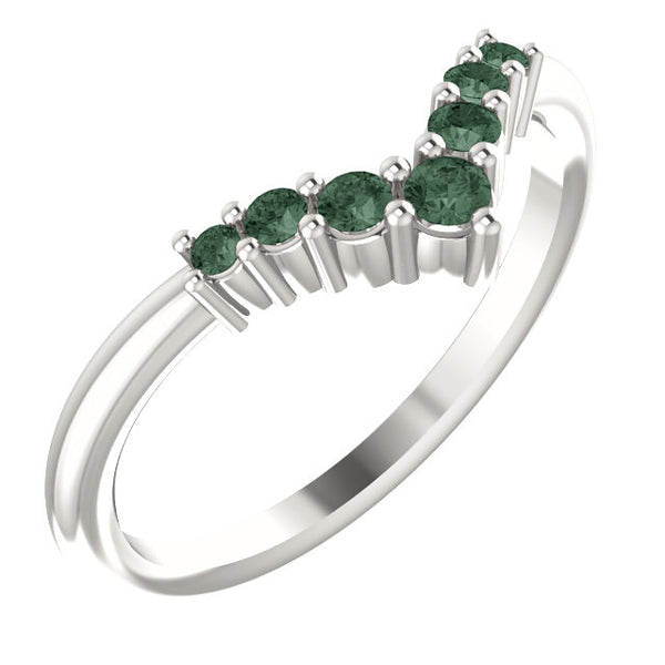 72077-Alexandrite-Sterling-Silver-Graduated V Ring-7-stones-2 mm Round Shape