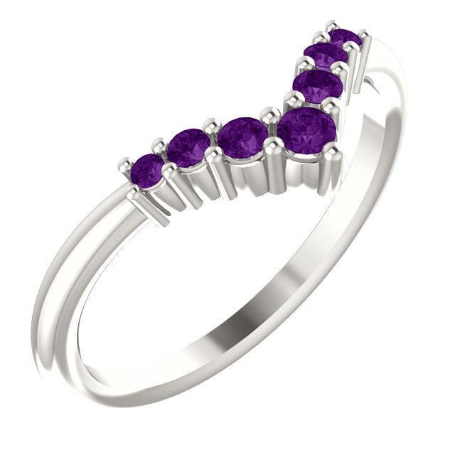 72077-Amethyst-Sterling-Silver-Graduated V Ring-7-stones-2 mm Round Shape