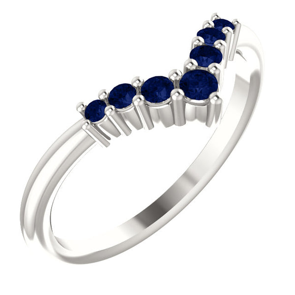 72077-Blue_Sapphire-Sterling-Silver-Graduated V Ring-7-stones-2 mm Round Shape