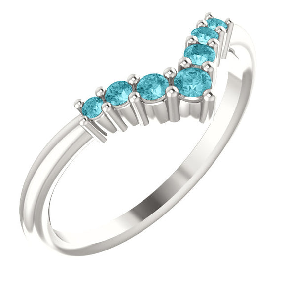 72077-Blue-Zircon-Sterling-Silver-Graduated V Ring-7-stones-2 mm Round Shape