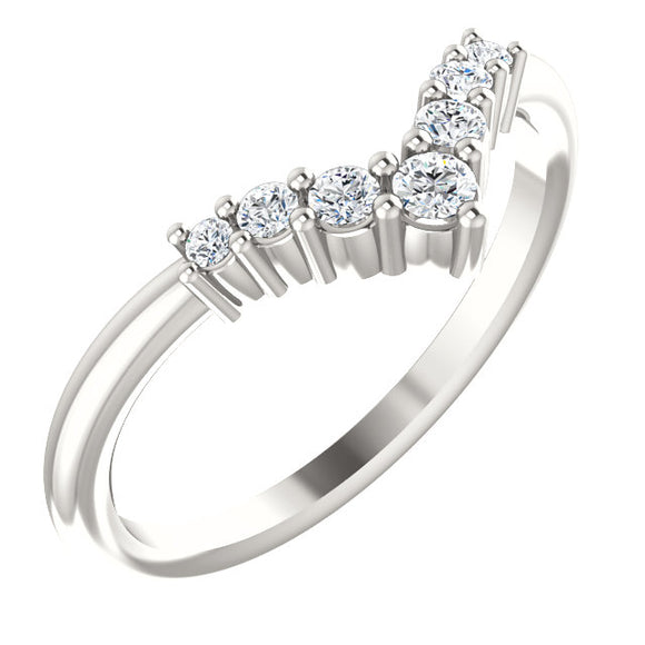 72077-Diamonds-Sterling-Silver-Graduated V Ring-7-stones-2 mm Round Shape
