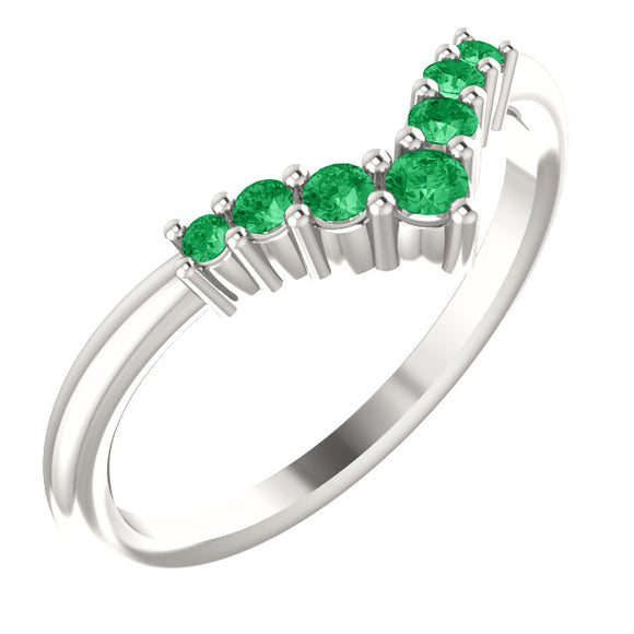 72077-Emerald-Sterling-Silver-Graduated V Ring-7-stones-2 mm Round Shape