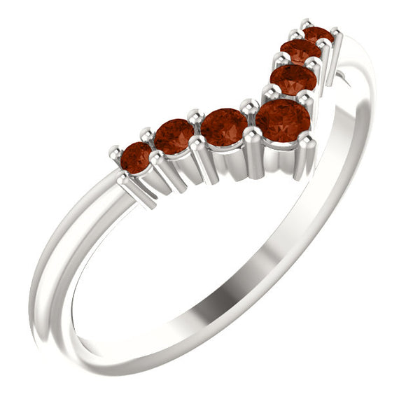 72077-14-K-Mozambique-Garnet-Gold-Graduated V Ring-7-stones-2 mm Round Shape